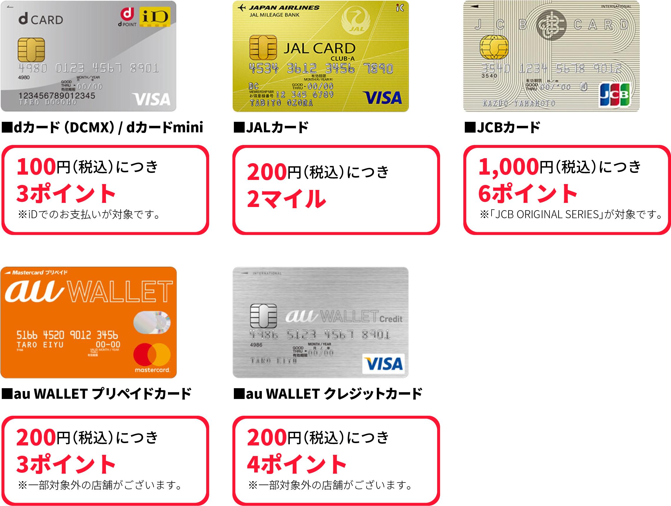 通常より多く貯まる対象カード
